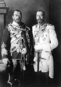 King George V on the Right, Tsar Nicholas II of Russia on the left and Kaiser Wilhelm II not pictured