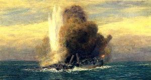 Artist version of HMS Pathfinder sinking