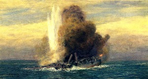 Artist version of HMS Pathfinder sinking