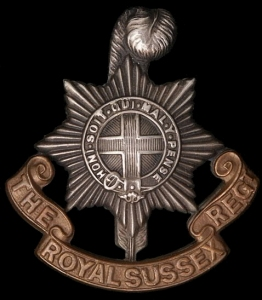 Cap badge of the Royal Sussex Regiment